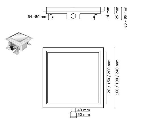 Edelstahl Bodenablauf Duschablauf Ablauf Siphon Dusche Quadratisch 12-20 cm 3 Muster Auswahl Sanlingo, Größe:12 x 12 cm, Design:Befliesbar