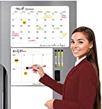 HEREDIA Set of 3 Magnetic Planner for Fridge: 1 Monthly and 1 Weekly Dry Erase Calendar, 1 Dry White Board, 2 Mini whiteboard 3x3', 6 Emojis Sticker Board, 4 Markers and 1 Eraser.
