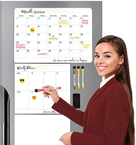 """HEREDIA Set of 3 Magnetic Planner for Fridge: 1 Monthly and 1 Weekly Dry Erase Calendar, 1 Dry White Board, 2 Mini whiteboard 3x3"""", 6 Emojis Sticker Board, 4 Markers and 1 Eraser."""