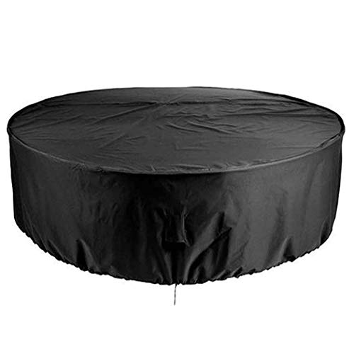 InkFenm Furniture Covers Waterproof Round Table, Patio Furniture Cover Black, Windproof/Anti-UV/Heavy Duty/Rip Proof, for Patio, Outdoor,185x110cm/6x4ft