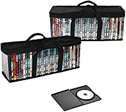 QEQRUG DVD Storage Case Holder Organizer Bags Black Stackable DVD Holder, Hold up to 80 DVDs, BluRay, Movies, Media, PS4 Video Games, Set of 2, Easy to Carry