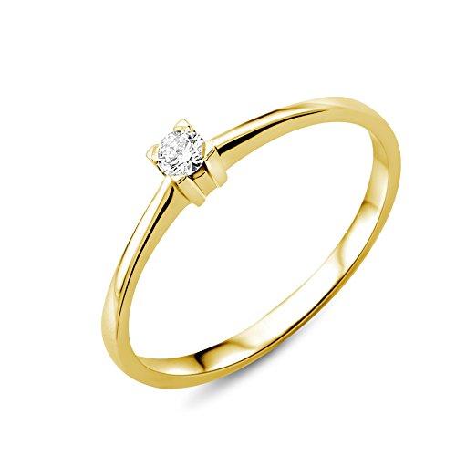 Miore Ring Damen Solitär Verlobungsring Gelbgold 18 Karat / 750 Gold Diamant Brilliant 0.07 ct