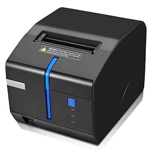 80mm thermische ontvangstprinter, printer met automatische snijder USB seriële LAN-poort met geluid en licht alarm om te voorkomen dat de bestelling ontbreekt ESC/POS Compatibel met Windows Mac POS systeem Cash Drawer