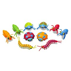 Bag of 10 colorful bugs Bright colors and patterns make each bug unique. Perfect for counting, sorting, hide-and-hunt and pretend-play activities. Sturdy plastic construction Encourages hand-eye coordination, color recognition and interest in the nat...
