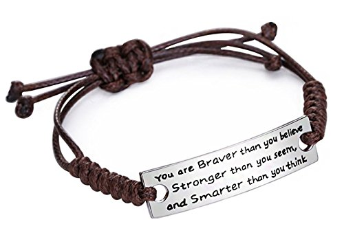 lauhonmin Family Friend Jewellery Silver Alloy You're Braver Stronger Smarter Than You Believe Brown Rope Chain Adjustable Bracelet Bangle Father Mother Teacher Gift for Women Men