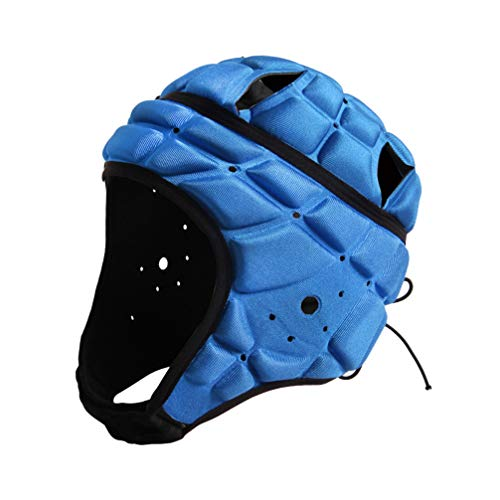 BESPORTBLE Sport Kopfbedeckung Torhüter Fußball Torwart Helm Kopfschutz Kappe Unterstützung für Hockey Fußball Rugby (Blau Freie Größe)