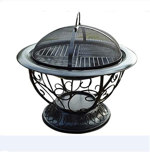 YLJYJ Feuerstelle im Freien Deep Bonfire Holzofen & Hinterhof Feuerstelle Kamin Poker und Metallgitter DIY Lagerfeuer BBQ (elektrischer Kamin)