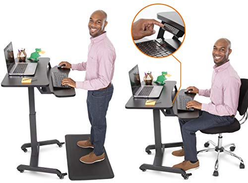 Stand Steady Cruizer Premier Electric Mobile Podium with Keyboard Tray | Height Adjustable Stand Up Workstation with Locking Wheels | Go from Sitting to Standing with Programmable Control Pad (Black)