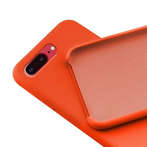 N NEWTOP Custodia Cover Compatibile per iPhone 7-8 Plus, Ori Case Guscio TPU Silicone Semi Rigido Colori Microfibra Interna Morbida (Arancione)