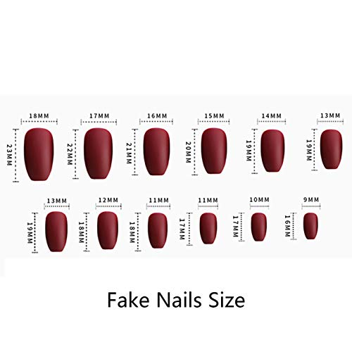 Vaveah 24 Pcs Coffin Fake Nails Glue Stickers Press on False Nails Pure Matte Color Artificial Nails for Women and Girls (Nude Pink)