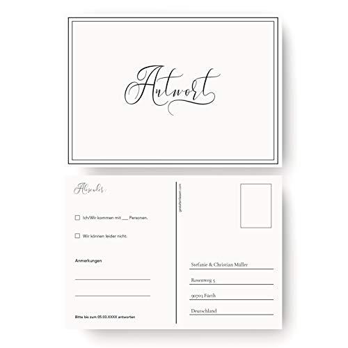 (10 x) Antwortkarte Hochzeit Hochzeitskarten Antwort Postkarte Einladung - Schlicht