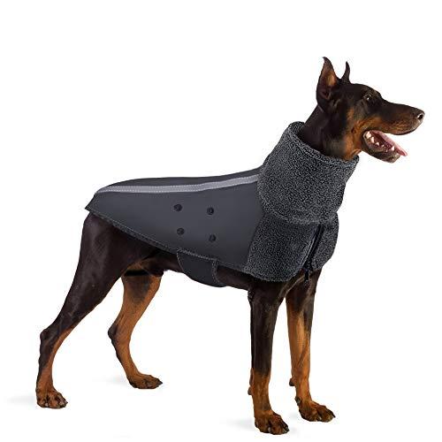 SlowTon -Abrigo Perro Invierno, cálido Forro Polar para Exteriores con Bufanda de Cuello Alto, Rayas Reflectantes, Chaleco a Prueba de Viento, Juegos Suaves para Mascotas