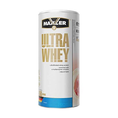 Maxler Ultra Whey Protein Pulver - Natürlich schmeckendes Protein Whey - Eiweiß Shake für Muskelaufbau, Wiederherstellung, Pre Workout & Post Workout - Protein Powder Erdbeer Shake - 450 g