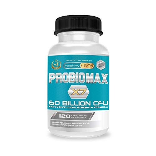 PROBIOMAX X7-60 BILLIONEN CFU - Exklusive Formel mit breitem Spektrum - Mikroverkapselte Probiotika zur Verhinderung von Abbau - 120 Kapseln Pflanzliches Mittel mit kontrollierter Freisetzung.