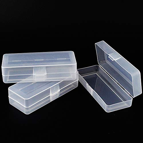 Airgoesin Small Clear Storage Box Container Desktop Organizer with Lid, 4.9 in x 2 in x 1.3 in for Keeping Small Parts, Coints, Screws, Pencils, Q-Tip, Flossers, Ornaments, 3pcs/pk