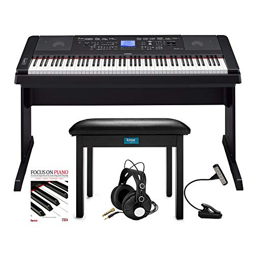 Fantastic Deal! Yamaha DGX-660 88-Key Grand Piano Bundle with Knox Flip-Top Bench, LED Music Light, ...