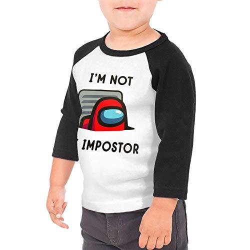 OWL QUEEN A-mong Us Toddler Baby Girls Boys 3/4 Sleeve Shirts Raglan Shirt Baseball Tee Cotton T-Shirt