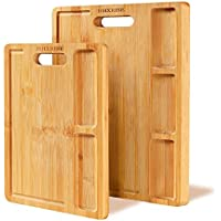 2-Pack Organic Bamboo Cutting Board with Handle