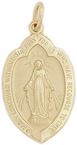 Yellow Selling Indefinitely rankings Gold 14K Miraculous Pendant Religious Mary
