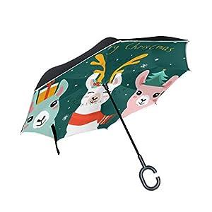 Material: 100% poliéster impermeable de doble capa. El paraguas del revés y del revés puede estar solo. El mango en forma de C es bueno para sostener y llevar, fácil de abrir y cerrar Perfecto para usar al subir y bajar del coche, puede evitar que la...