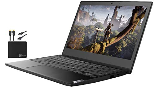 2021 Newest Lenovo Lightweight Chromebook 3 11.6' HD Screen Laptop Business & Student, AMD Dual-Core A6-9220C, up to 2.7 GHZ, 4GB RAM, 32GB eMMC Storage, WiFi 5, Webcam, Chrome OS w/Marxsol Cables