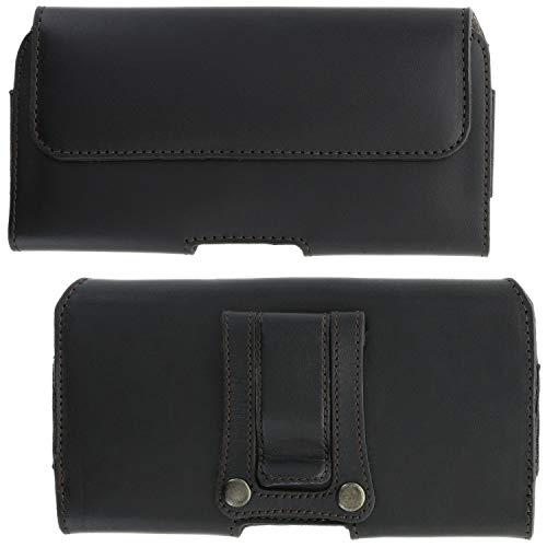XiRRiX Handy Gürteltasche mit Clip - 5.0 5XL passend für Motorola Moto Edge/One Action/One Vision/Xiaomi Redmi Note 8t / 8 Pro / 9s / 9 Pro - Leder Gürtel Smartphonetasche schwarz