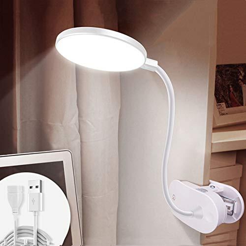 Clip Light,LED Lámpara De Escritorio Control Táctil,Usb Regulable Luz De Lectura,Para La Lectura,Estudiando,Trabajando,Dormitorio,Oficina-Línea blanca de 1.5 m Cargar y conectar