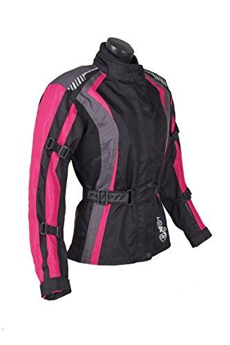 Roleff Racewear Damen Textil Motorradjacke mit Protektoren, Gute Belüftung, Taillierter Schnitt, Schwarz, Pink , Größe XXL