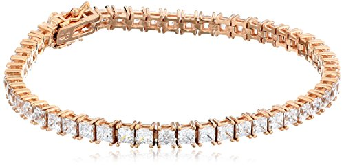 Rose Gold Plated Sterling Silver Princess-Cut Tennis Bracelet made with Swarovski Zirconia (4mm), 7.25'
