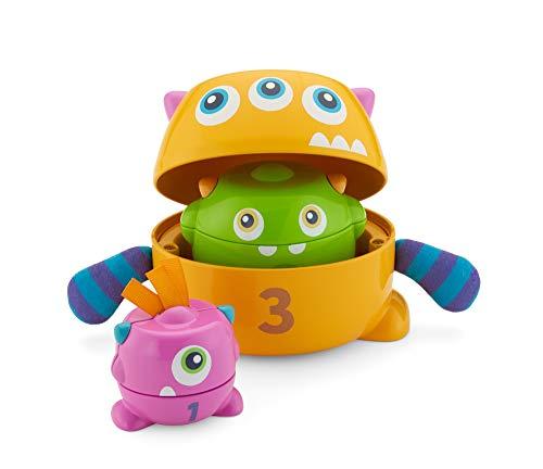 Fisher-Price FNV36 - Bunte Stapelspaß Monster, Stapelbecher mit Rassel, Babyspielzeug ab 6 Monate