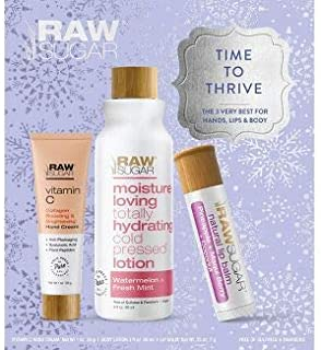 Raw Sugar Time to Thrive-The Very Best for Hands, Lips & Body 3 pc Gift Set - Vitamin C Collagen Boosting Hand Cream, Wate...