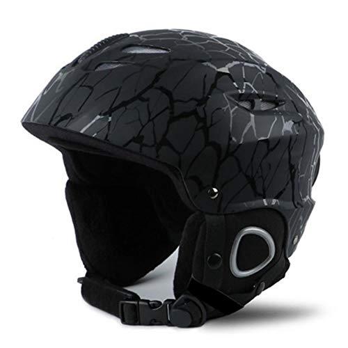 LLTT Skihelm für Herren und Damen, Snowboard-Helm, Moto, Schneemobil, Skateboard, Sicherheitshelm, Winter, warmes Fleece-Zubehör, schwarze streifen