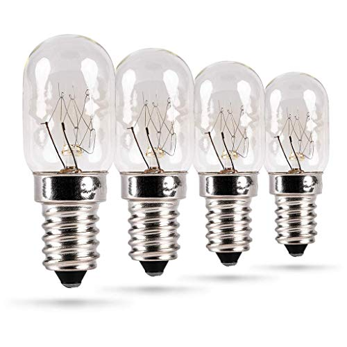 HEITECH Kühlschranklampe 4er Pack 15W E14 - Glühbirne für Nähmaschine, Dunstabzugshaube, Vitrine, Salzsteinlampe, Kühlschrank, Gefriertruhe - Kühlschrank Lampe mit T22 Kapsel, 90 Lumen & 2500K