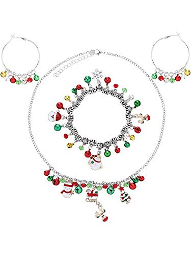 Tatuo Christmas Jewelry Sets Santa Claus, Snowman, Christmas Tree, Bell Necklace Bracelet and Dangle Hoop Earrings for Women Girls Ornament (Style 2)