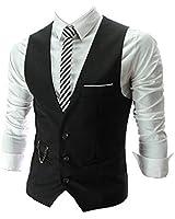 PXS Vest V-Neck Sleeveless Slim Fit Jacket Men Business Waistcoat (Black, XS)