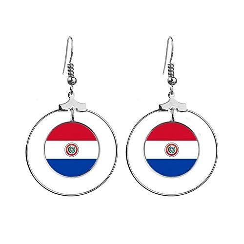 Paraguay Nationale Vlag Zuid-Amerika Land Oorbellen Dangle Hoop Sieraden Drop Cirkel