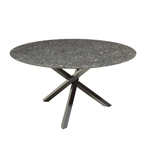 Kölle Granit Gartentisch Pearl Grey satiniert - Runder, dunkelgrauer Granittisch 'Gigi' 140 cm - Hochwertiges, Robustes Gartenmöbel - Pflanzen