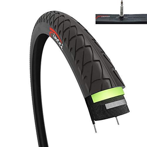 Fincci Set 26 x 1,95 Zoll 53-559 Slick Reifen mit Sclaverandventil Schläuche und 2,5 mm Pannenschutz für Cityräder Rennräder Mountain MTB Hybrid Fahrrad