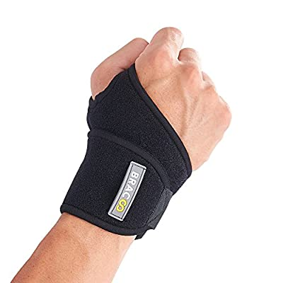 Bracoo Wrist Wrap, Reversible Compression Support for Sprains, Carpal Tunnel Syndrome, Wrist Tendonitis Pain Relief & Injury Recovery, WS10, Black, 1 Count