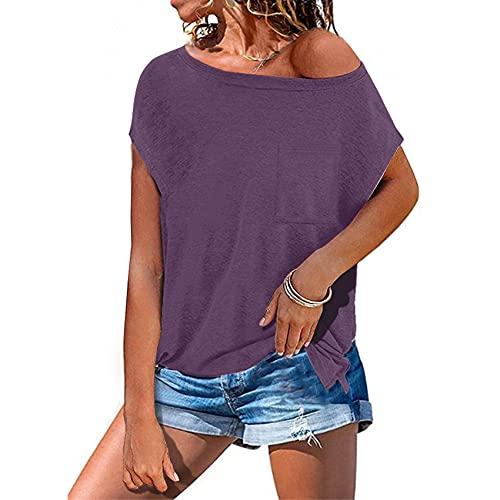 Camiseta Informal Holgada con Bolsillo de Color sólido de Primavera y Verano para Mujer, Cuello Redondo, Manga Corta, Jersey