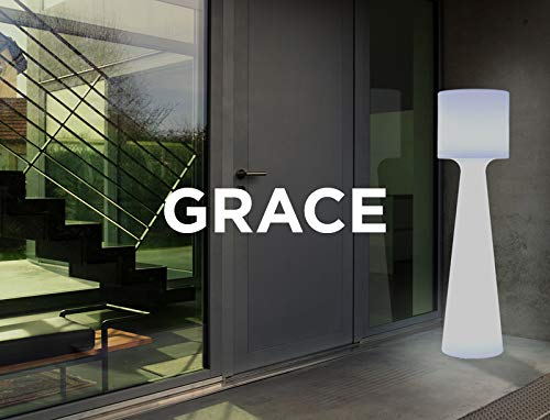 GRACE - Lámpara de pie LED para exteriores con cable (altura 170 cm), color blanco