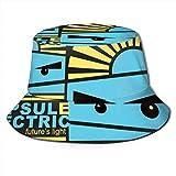 Sombreros de Cubo Transpirables con Parte Superior Plana Unisex Sombrero de Cubo de Cerezas Sombrero de Pescador de Verano-Cápsula eléctrica-Talla única