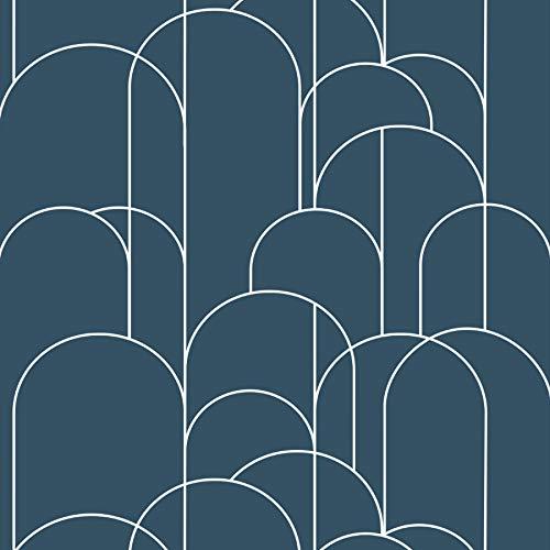 Fantasnight Blu Carta da Parati Adesiva Muro di Moderna Pannello Parete Decorativo Impermeabile DIY per Cucina, Bagno, Salone, Ufficio