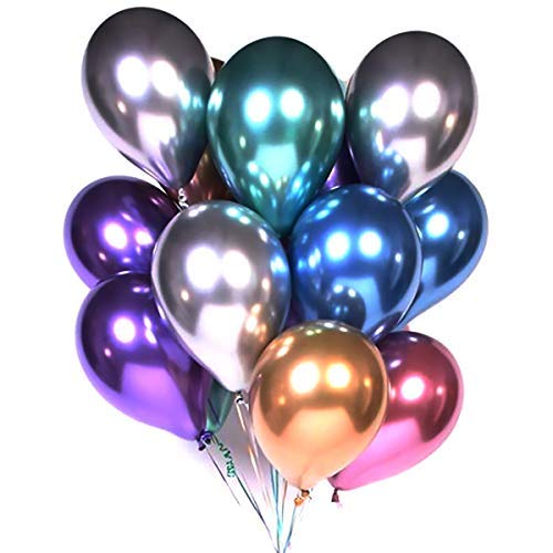 Pukavt Party Balloons 12inch 50pcs Assorted Color Metallic Latex Balloons Birthday Helium Balloons