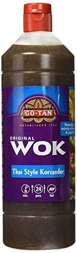 Go-tan Salsa Wok Thai Coriander, Tradicional Salsa Tailandesa, Base de Cilantro, Chile, Mariscos y Especias, 1 Litro