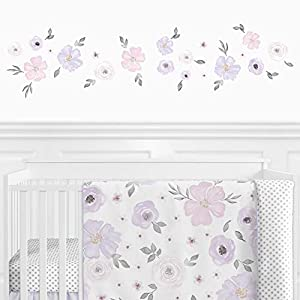 Sweet JoJo Designs Purple and Grey Watercolor Floral Peel and Stick Wall Decal Stickers Art Nursery Decor – Set of 4 Sheets – Lavender, Pink, Gray and White Rose Flower