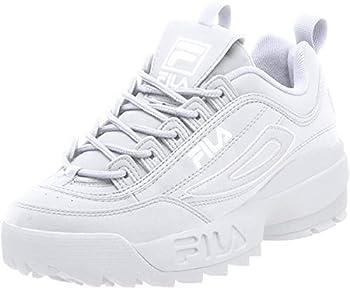 Fila Women s Disruptor II Premium Sneakers White/White/White 8 Medium US