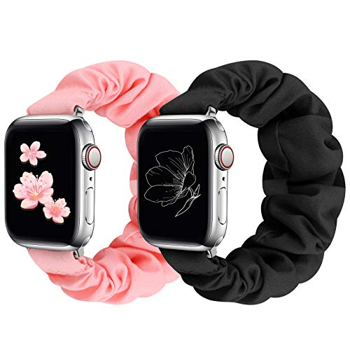 JIELIELE Compatible with Apple Watch Band 38mm 40mm 42mm 44mm, Cute Pattern Printed Scrunchie Apple Watch Band for Women, Bracelet Replacement Wristbands for Apple Watch Series 5 4 3 2 1(BP-38/40S)