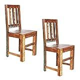 Invicta Interior 2er Set Massiver Holz Stuhl Jakarta aus recycelten Fischerbooten Massivholzstuhl Esszimmerstuhl