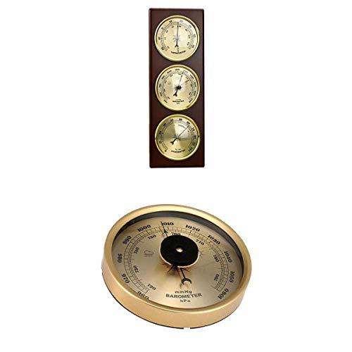 RETYLY Wand-Barometer, Thermometer, Hygrometer, Luftdruckmessgerät, Wetterstation, zum Aufhängen, Heim/Büro, Metallmaterial